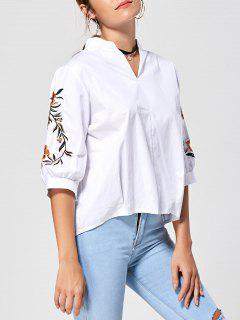 Embroidery Stand Collar Blouse - White