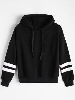 Drop Shoulder Striped Drawstring Hoodie - Black