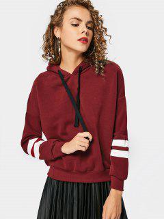 Drop Shoulder Striped Drawstring Hoodie - Wine Red