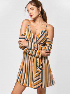 Cold Shoulder Striped Side Slit Dress - L