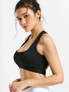 Mesh Panel Crisscross Cutout Sports Bra - Black L
