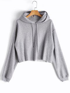 Cropped Drop Shoulder Pullover Hoodie - Gray L