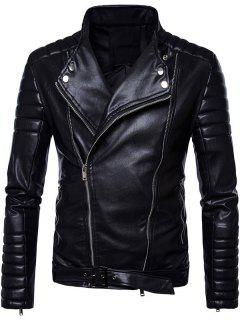 Convertible Zip Up Belted Biker Jacket - Black 3xl