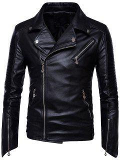 Reißverschlüsse Gefaltete Asymmetrische Zip Biker Jacke - Schwarz 3xl