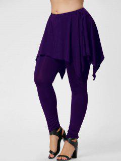 Plus Size Handerchief Skirted Pants - Purple 3xl