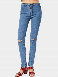 Zipper Fly Ripped Straight Jeans - Blue L