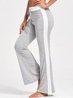 Single Stripe Drawstring Flare Pants - Gray L