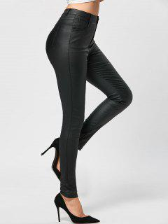 Five Pockets PU Leather Pencil Pants - Black L
