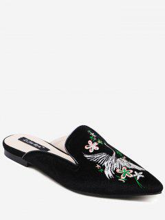 Velvet Embroidered Pointed Toe Slippers - Black 38