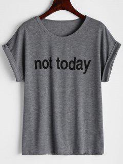T-shirt Imprimé à Lettre Col Rond - Gris L