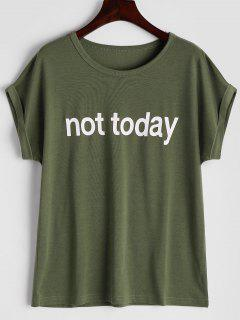 Round Collar Letter Print Tee - Army Green M