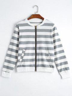 Zip Up Striped Jacket With Pockets - Gray Xl