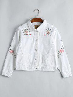 Button Up Floral Embroidery Denim Jacket - White L