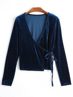 Plunging Neck Velvet Wrap Blusa - Pavo Real Azul M