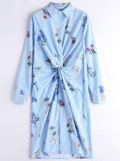Manga Larga De Rayas Florales Twist Camisa Vestido - Raya M
