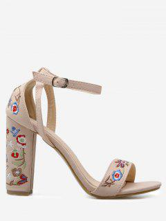 Embroidered Ankle Strap Block Heel Sandals - Apricot 40