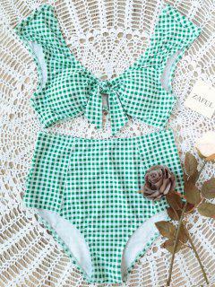 Karierte Krawatte Vorne Hoch Taillierte Bikini - Weiß Und Grün L