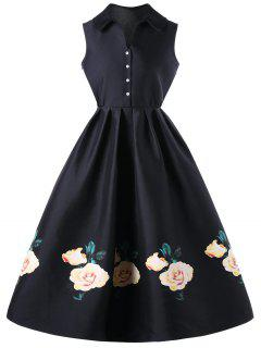 Single Breasted Floral Sleeveless Knee Length Dress - Black Xl