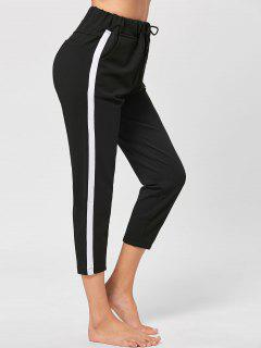 Two Tone Drawstring Cropped Pants - Black L