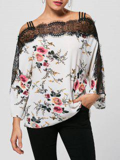 Eyelash Lace Trim Floral Bohemian Blouse - White M