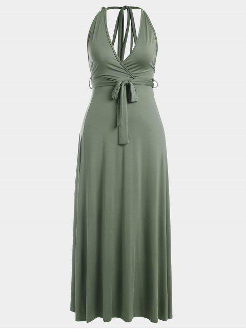 Vestido largo sin espalda de la rebeca del halter - Verde del ejército M Mobile