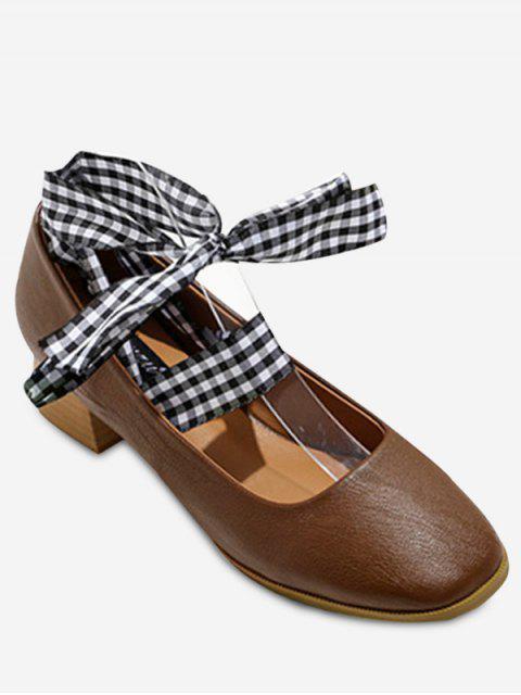 ladies Square Toe Block Heel Tie Up Pumps - DEEP BROWN 38 Mobile