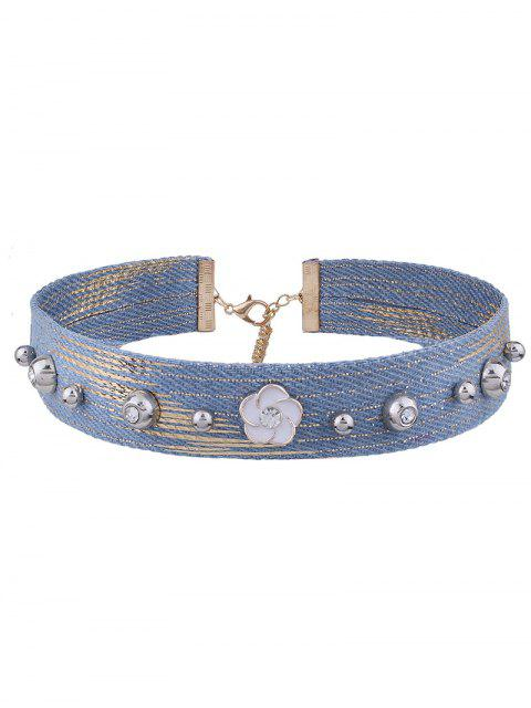 Strass-Denim-Blumen-Choker-Halskette - Denim Blau  Mobile