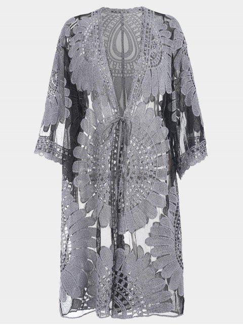 Robe  en Kimono Grande Taille avec Cordon de Serrage en Haut - Noir XL Mobile