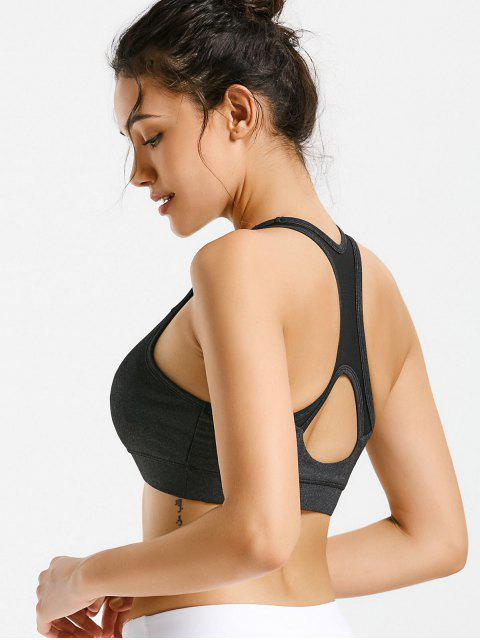 outfit Padded Racerback Cut Out Sporty Bra - DEEP GRAY L Mobile