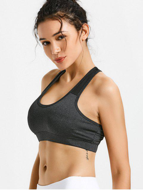 shop Padded Racerback Cut Out Sporty Bra - DEEP GRAY M Mobile