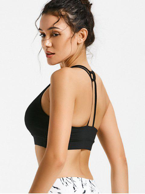 affordable Quick Dry Strappy Sports Bra - BLACK L Mobile