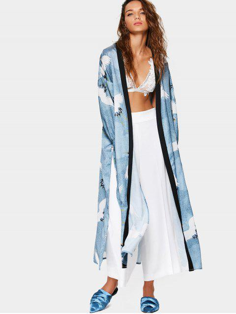 women's Side Slit Crane Graphic Duster Coat - COLORMIX S Mobile