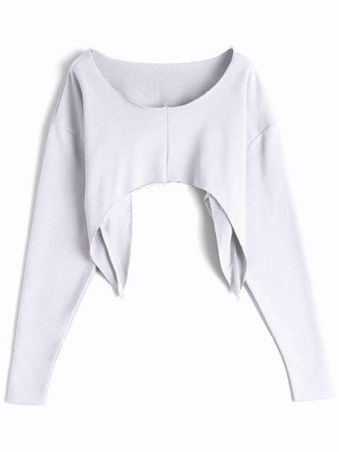 hot Asymmetric Streetwear Cropped Sweatshirt - WHITE ONE SIZE Mobile