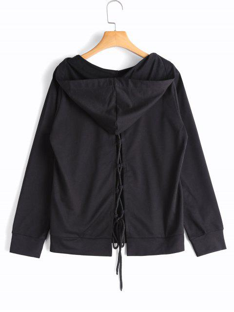 shops Back Lace Up Kangaroo Pocket Hoodie - BLACK L Mobile