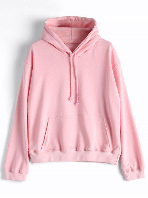 women Casual Kangaroo Pocket Plain Hoodie - PINK S Mobile