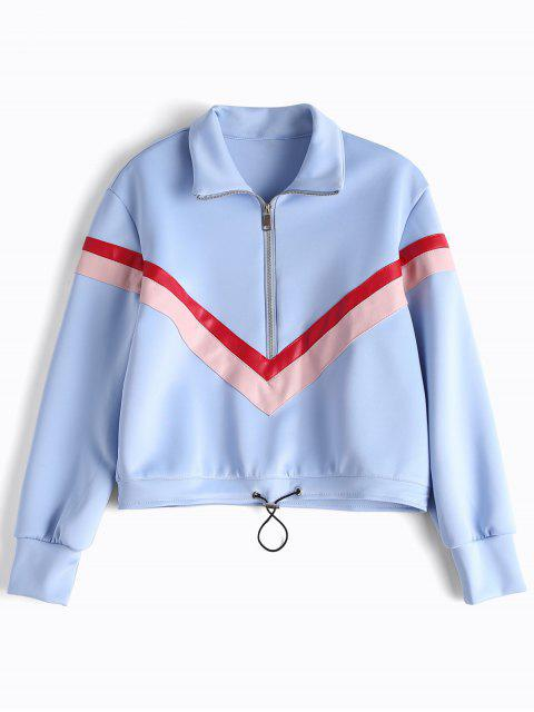 Faux Leather Panel Half Zipper Sporty Top - Azul Claro M Mobile