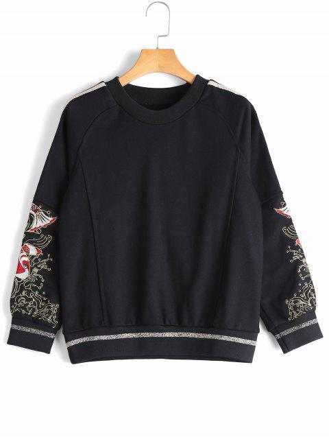 trendy Gilding Fish Embroidered Sweatshirt - BLACK L Mobile
