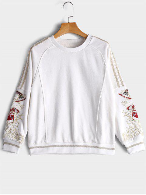 Sweatshirt mit Vergoldetem Fisch Stickereien - Weiß L Mobile