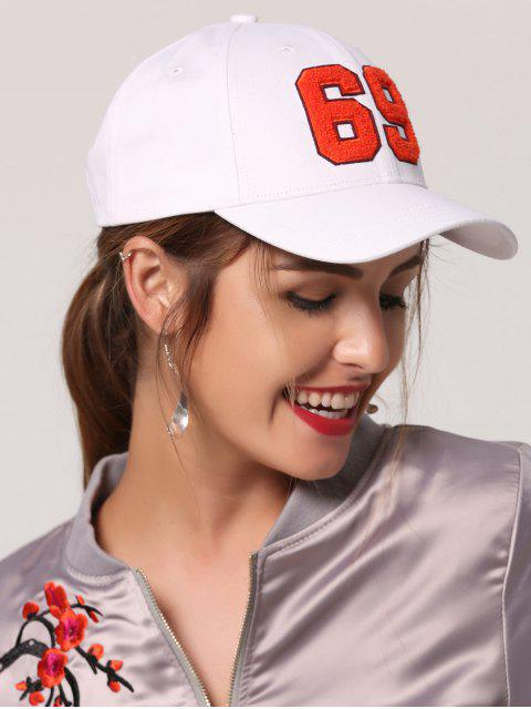 affordable Number Patchwork Baseball Hat - WHITE  Mobile
