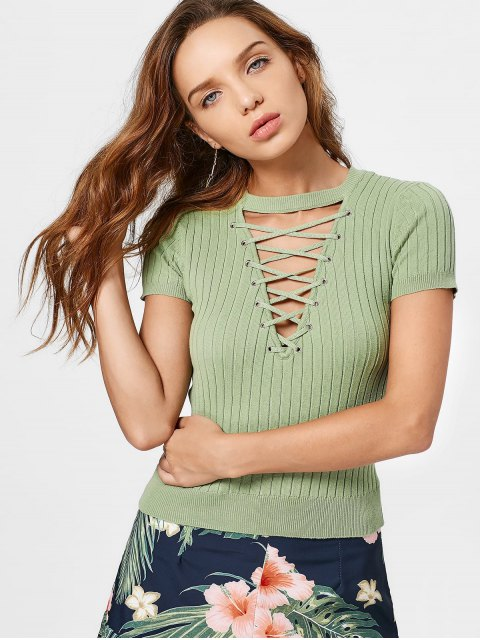 Ribbed Knit Lace Up Top - GREEN M Mobile