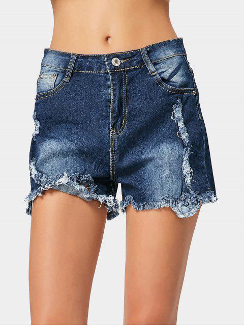 sale Ripped Frayed Hem Denim Shorts - DEEP BLUE L Mobile