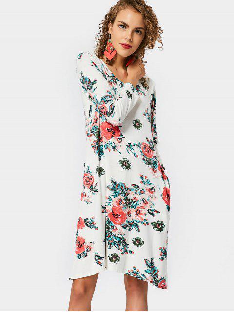 Runder Kragen Blumen Druck Shift Kleid - Blumen XL Mobile