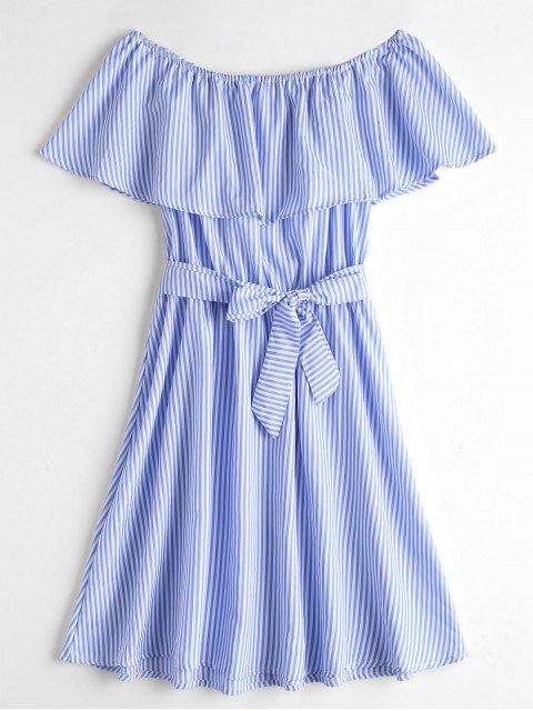 GeschichtetesSchulterfreies Gestreiften Gürtel Kleid - Blau & Weiß M Mobile