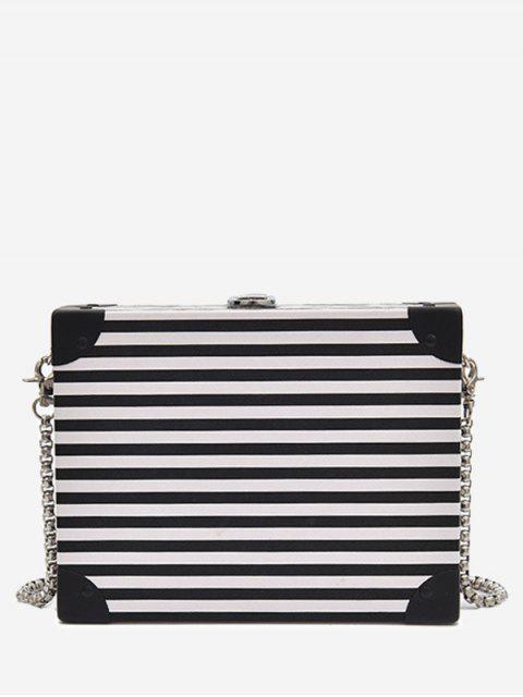 women Box Shaped Striped Pattern Crossbody Bag - WHITE AND BLACK  Mobile
