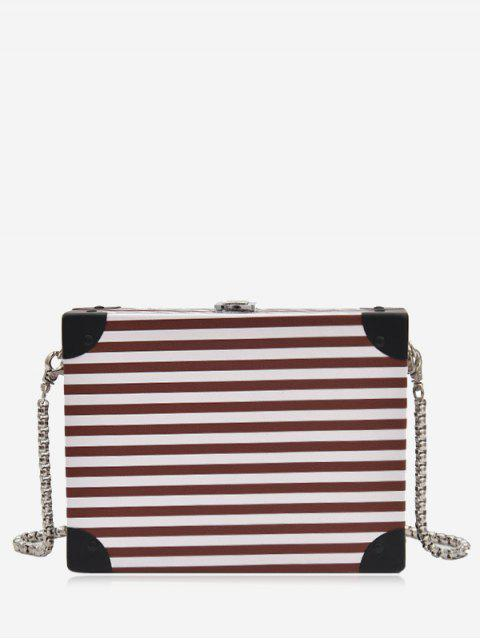 ladies Box Shaped Striped Pattern Crossbody Bag -   Mobile
