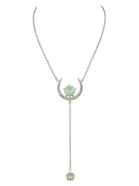 lady Moon Star Pendant Necklace - SILVER  Mobile