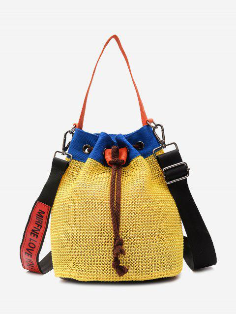 best Color Block Weave Drawstring Bucket Bag - YELLOW  Mobile