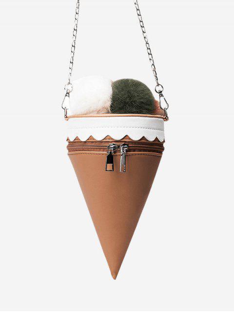 hot Pompon Ice Cream Shaped Crossbody Bag - KHAKI  Mobile