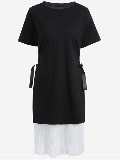 fashion Plus Size Pleated Cami Dress with Outer Dress - WHITE AND BLACK 5XL Mobile