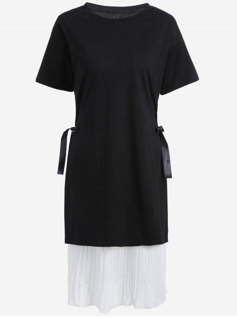 Übergröße Plissiertes Cami Kleid mit Äußerem Kleid - Weiß & Schwarz 5XL Mobile